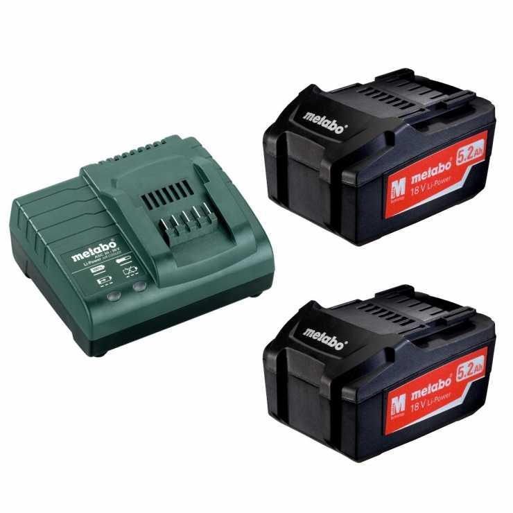 Metabo baterijski komplet sa punjačem 18 V Basic Set 2 x 5.2 Ah - Var Sistem